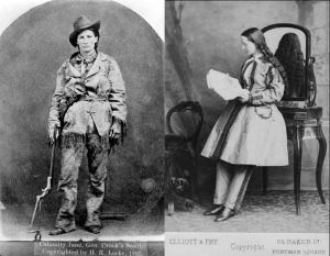 Miss Martha Jane Canary,  around 1874, and Dr Mary Edwards Walker, circa 1870s, after serving as a surgeon and receiving the Medal of Honour during the American Civil War.