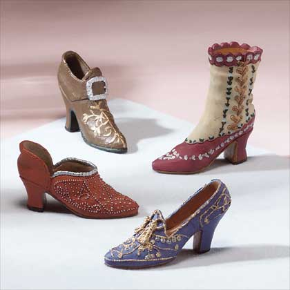A selection of decorated dancing shoes