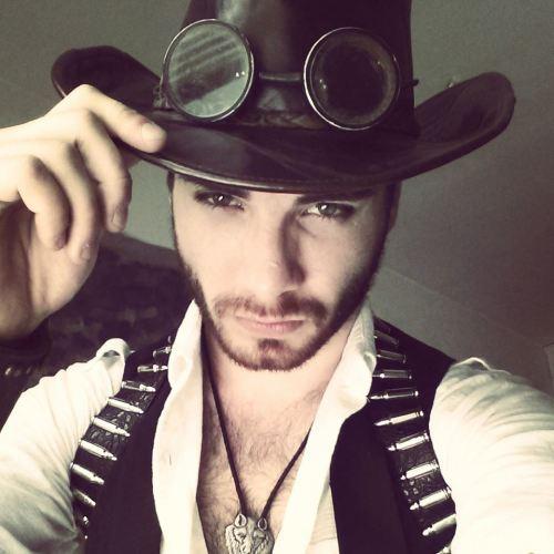 Trevor Ivanich in full steampunk cowboy garb.
